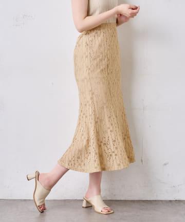 natural couture(ナチュラルクチュール) ストライプフラワーレースマーメイドスカート