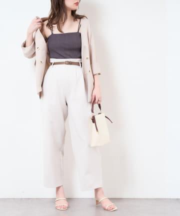 natural couture(ナチュラルクチュール) 合皮ベルト付きウォッシャブルストレートゆるパンツ