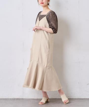 natural couture(ナチュラルクチュール) 【おうちで洗える!】リネン見えツイストコードキャミワンピース