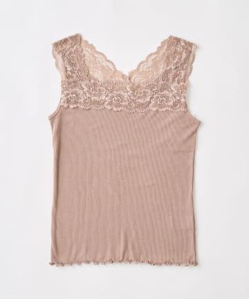 natural couture(ナチュラルクチュール) 2WAY幅広レースキャミソール