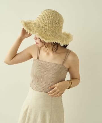 natural couture(ナチュラルクチュール) 【大人ナチュ】カップ付きランダムテレコキャミソール