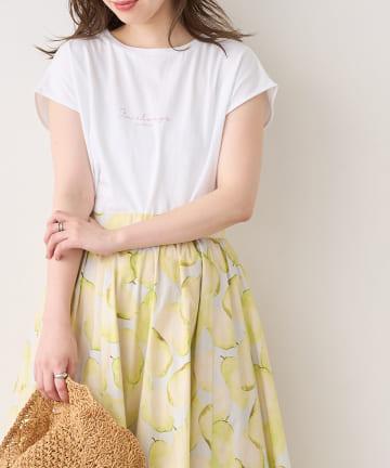 natural couture(ナチュラルクチュール) USAコットンフレンチスリーブロゴTシャツ