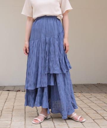 Kastane(カスタネ) ビンテージサテンアシメフリルスカート