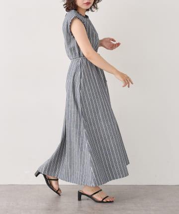 natural couture(ナチュラルクチュール) 【WEB限定】綿麻フリンジテントラインワンピース