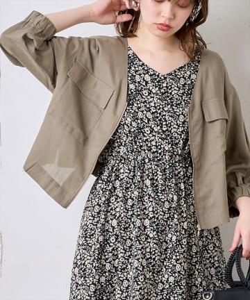 natural couture(ナチュラルクチュール) 綿麻お上品ライトブルゾン