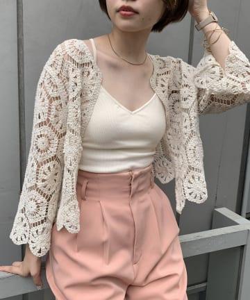 natural couture(ナチュラルクチュール) クロシェ風2WAYレースカーディガン