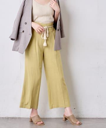 natural couture(ナチュラルクチュール) 綿麻ツイストコード付きパンツ