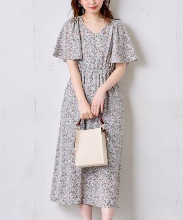 natural couture(ナチュラルクチュール) ひらりフレアスリーブレディワンピース