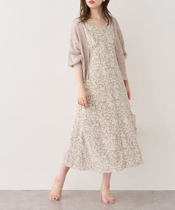 natural couture(ナチュラルクチュール) 【WEB限定】バックレースアップ花柄ワンピース
