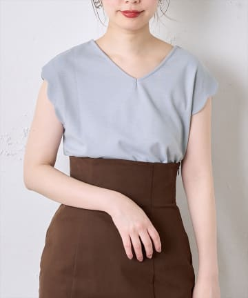 natural couture(ナチュラルクチュール) プチプラ2WAYお上品スカラップT