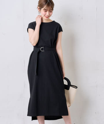 natural couture(ナチュラルクチュール) Dかんベルト付きサーマルワンピース