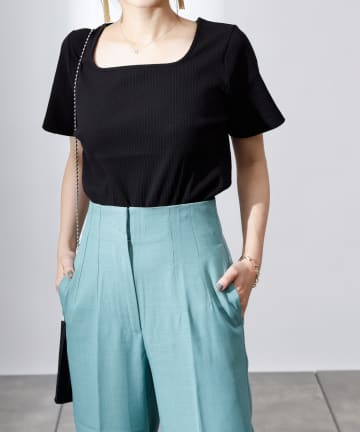 COLONY 2139(コロニー トゥーワンスリーナイン) 【UVカット】ランダムテレコスクエアネック半袖Tシャツ