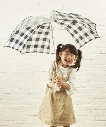 salut!(サリュ) キッズ雨傘グレンチェック(ブラック)