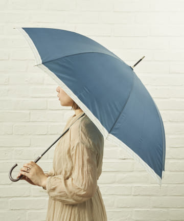 salut!(サリュ) 雨傘長裾チェック(ネイビー)