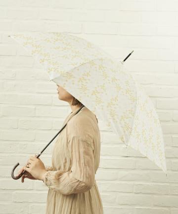 salut!(サリュ) 雨傘長フラワー(アイボリー)