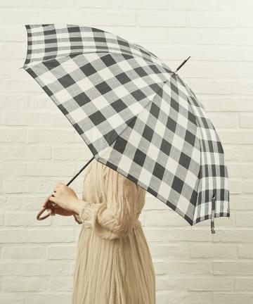 salut!(サリュ) 雨傘長グレンチェック(ブラック)