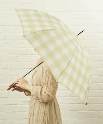salut!(サリュ) 雨傘長グレンチェック(イエロー)