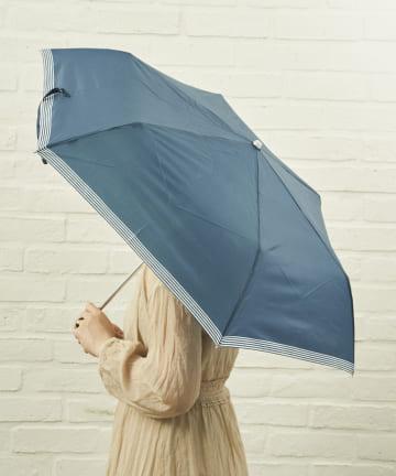 salut!(サリュ) 雨傘折裾ボーダー(ネイビー)