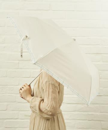 salut!(サリュ) 雨傘折裾チェック(アイボリー)