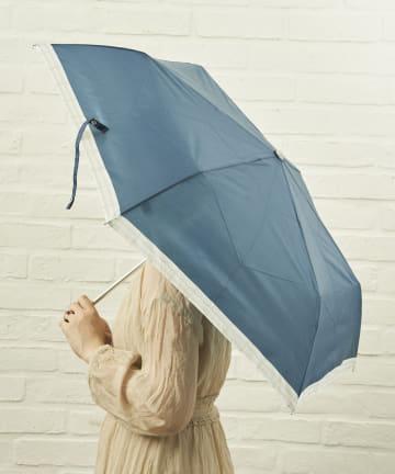 salut!(サリュ) 雨傘折裾チェック(ネイビー)