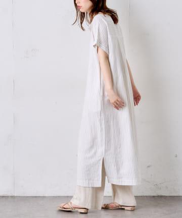natural couture(ナチュラルクチュール) 麻レーヨン楽ちんスキッパーワンピース