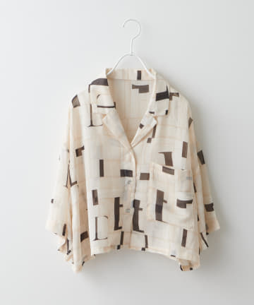 NICE CLAUP OUTLET(ナイスクラップ アウトレット) アルファベット柄シアー開襟シャツ