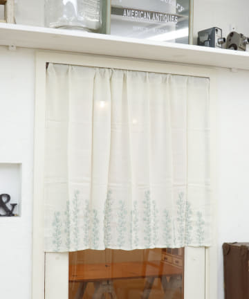 salut!(サリュ) 【再入荷】裾フラワー刺繍ロングカフェカーテン