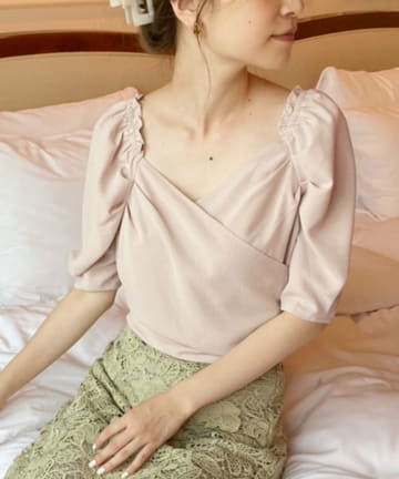 one after another NICE CLAUP(ワンアフターアナザー ナイスクラップ) 【Cherie chuu】cache coeur blouse
