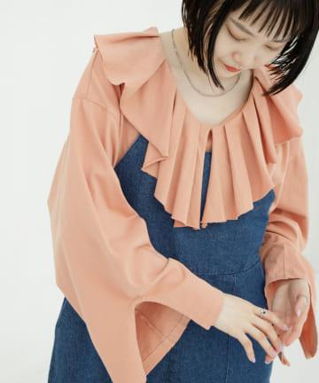 OUTLET(アウトレット) 【Kastane】裁ち切り衿フリルプルオーバー