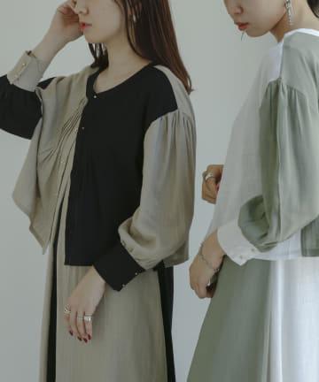 mona Belinda(モナ ベリンダ) 【着用動画あり】配色ブロッキング4wayシャツワンピース