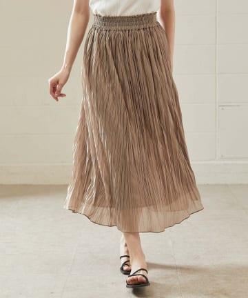 OUVRAGE CLASSE(ウヴラージュクラス) シャイニープリーツロングスカート