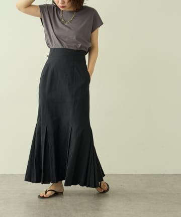 natural couture(ナチュラルクチュール) 【大人ナチュ】ダブルプリーツマーメイドスカート