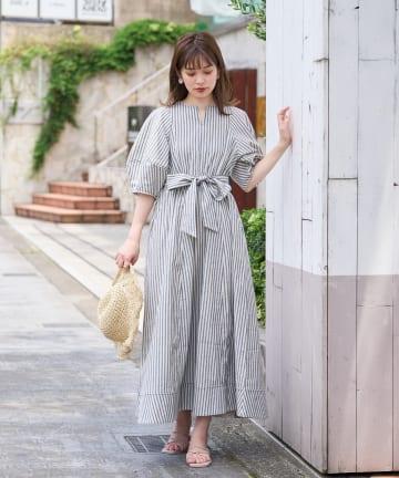 natural couture(ナチュラルクチュール) 【着用動画&解説あり】ランタンスリーブワンピース