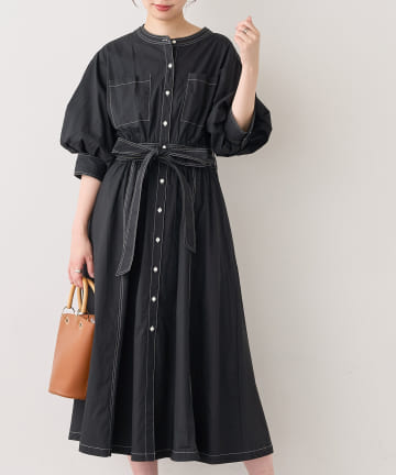 natural couture(ナチュラルクチュール) 【WEB限定】ノーカラーシャツワンピース