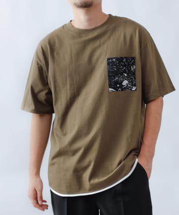 COLONY 2139(コロニー トゥーワンスリーナイン) 20/-コットンパイピングTシャツ/柄ポケット半袖T