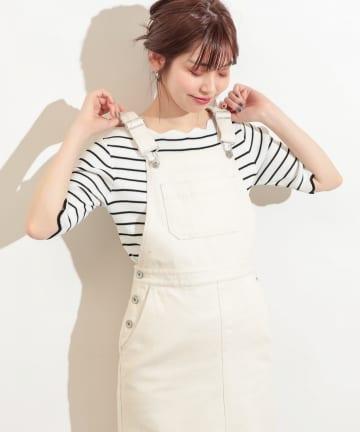 natural couture(ナチュラルクチュール) 袖口配色スカラップ強撚ニット