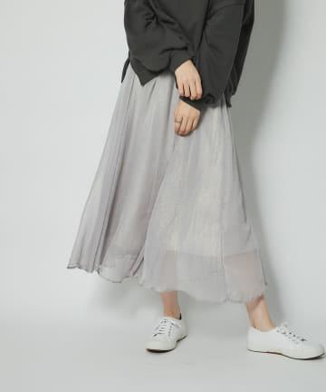 un dix cors(アンディコール) 《予約》【軽やかで女性らしい雰囲気】箔プリントギャザースカート