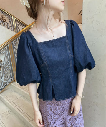 one after another NICE CLAUP(ワンアフターアナザー ナイスクラップ) 【Cherie chuu】stitch peplum blouse