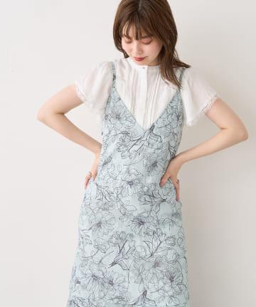 natural couture(ナチュラルクチュール) 線画ジャガードキャミワンピース