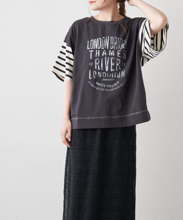 pual ce cin(ピュアルセシン) 【サステナブル】変わりボーダーTシャツ