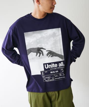 Discoat(ディスコート) 【UNITE ALL】プリントロングTシャツ(ユニセックスで着用可能)