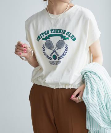 Discoat(ディスコート) TENNIS CLUBプリントTシャツ