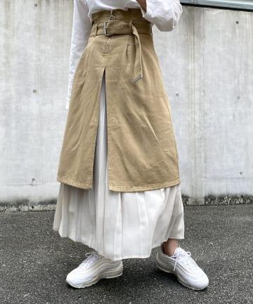 CPCM(シーピーシーエム) シフォンプリーツレイヤード風スカート