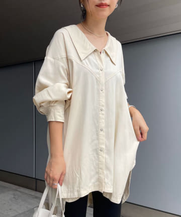 SHENERY(シーナリー) BIGカラーストーンウォッシュシャツ