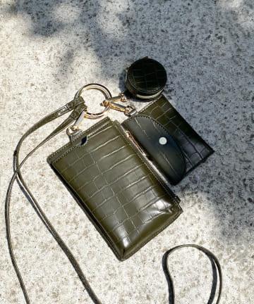 DOUDOU(ドゥドゥ) 型押し多機能スマホショルダー