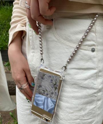 Lattice(ラティス) 【褒められスマホケース】パールショルダー【7/8/SE(第二世代)】