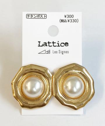 Lattice(ラティス) メタルフレームパールピアス
