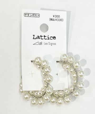 Lattice(ラティス) パールフープチタンピアス