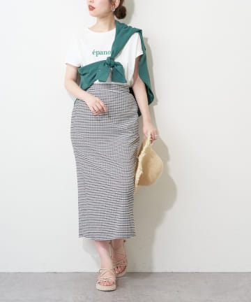 natural couture(ナチュラルクチュール) 【WEB限定カラー有り】変わり織りドビーチェックスカート
