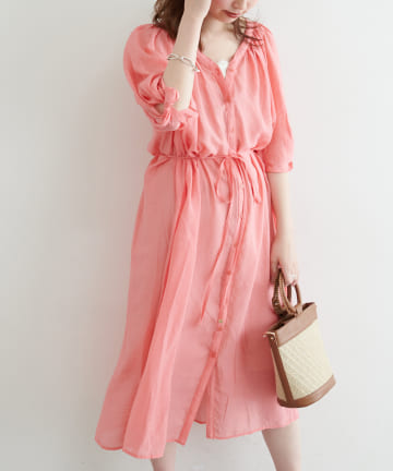 natural couture(ナチュラルクチュール) 【WEB限定】ねじり袖2WAYシャツワンピース
